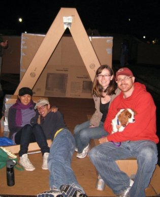 Regina, Greg, Gus and friends at Cardboard City to raise funds for Habitat for Humanity.